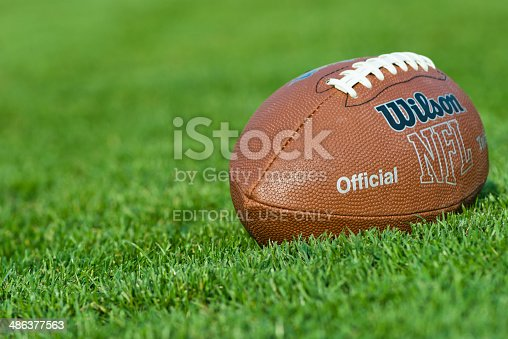 Iasi, Romania - September 20, 2012:  Wilson NFL Trakified American Football ball, on the field