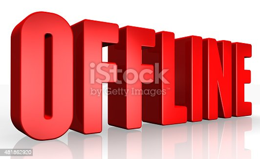 istock 3D offline text on white background 481862920