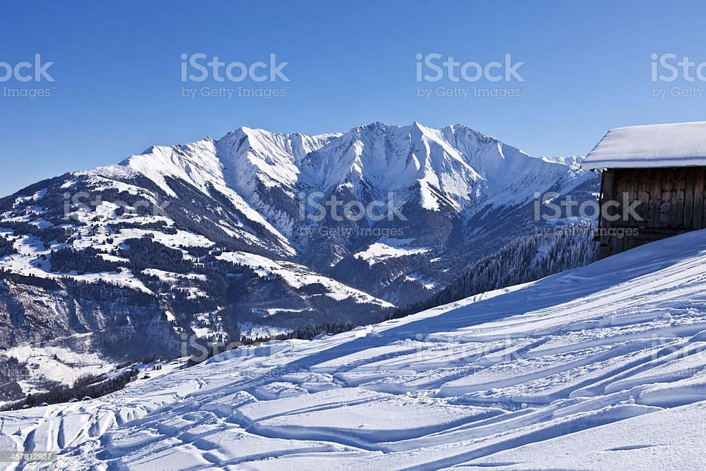 Off-Piste Ski Slope in Surselva with Magnificent Background stock photo
