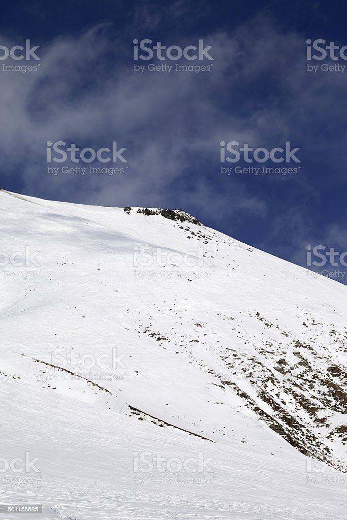 Off-piste slope with stones royalty-free stock photo