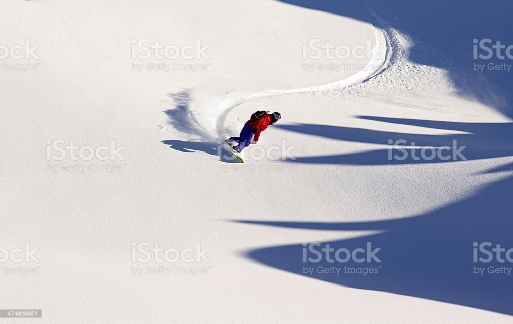 Off-piste snowboarder having fun in the powder stock photo