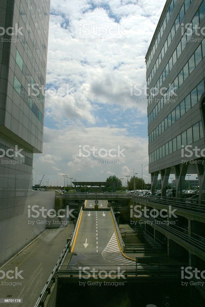 Off-ramp with buildings royalty-free stock photo