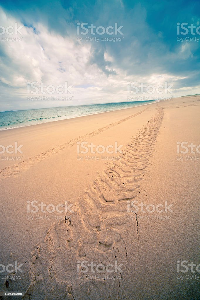 Offroad, beach tracks stock photo