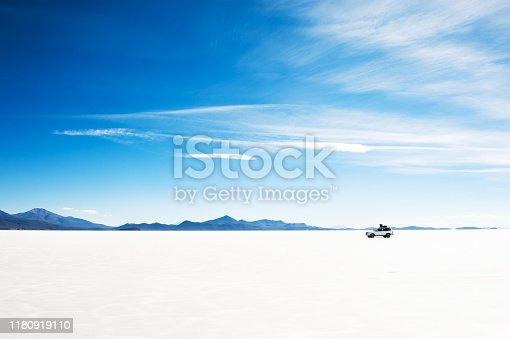 Off-road car driving on Salar de Uyuni salt flat in Bolivia. South America landscapes.