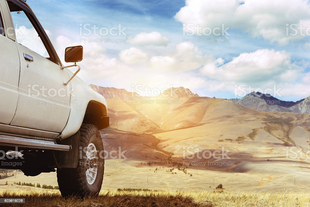 Offroad car jeep mountains 4x4 stock photo