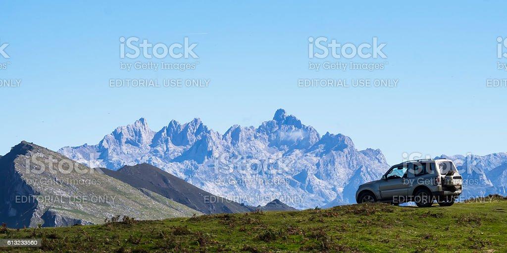 Offroad car landscape stock photo