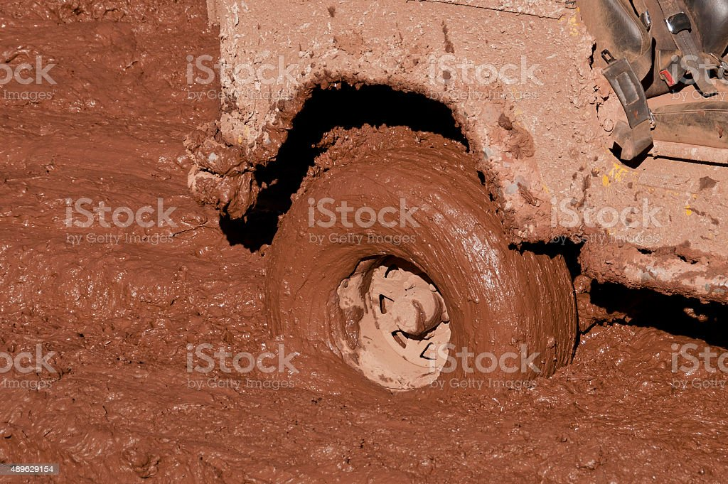 Off-road Car's wheel in mud, 4x4 stock photo