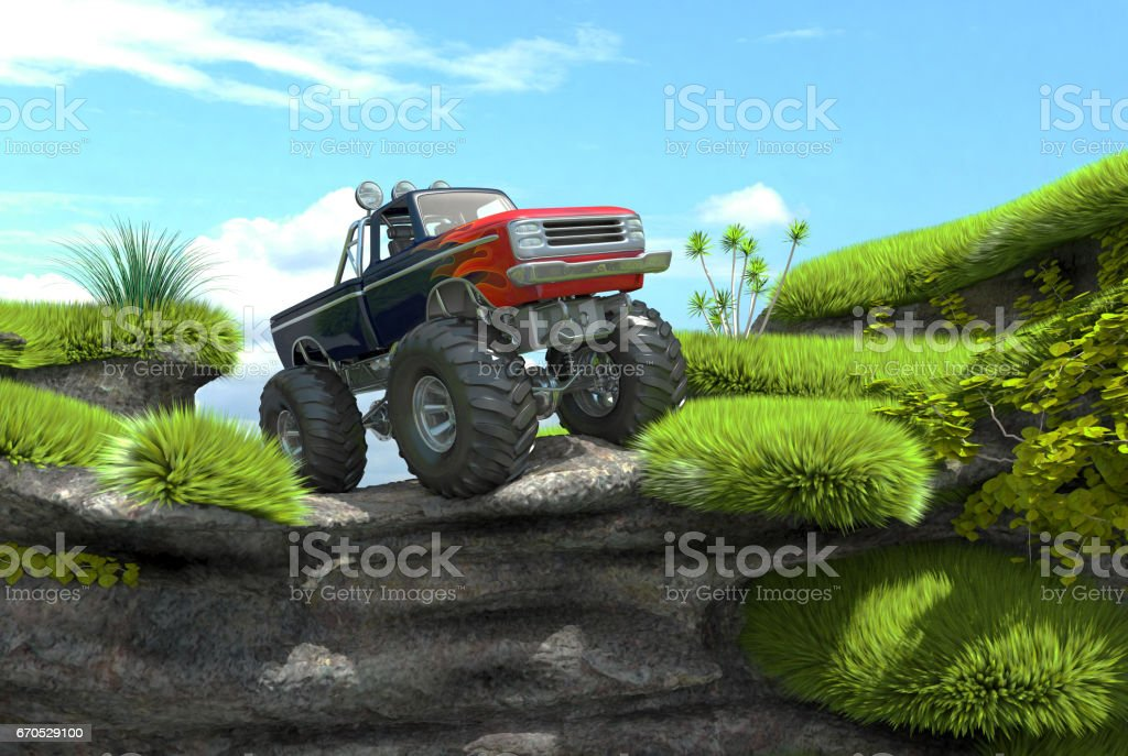 Offroad monster truck on top of a cliff stock photo
