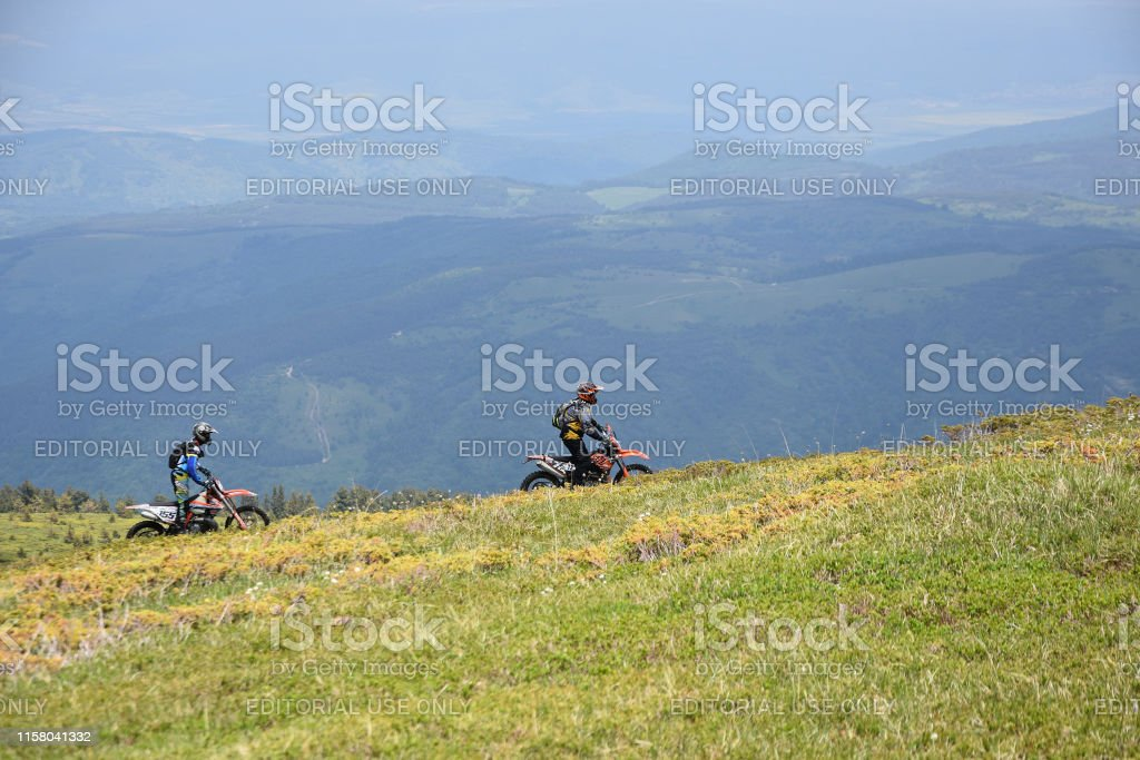 Kabul, Rila Mountain, Bulgaria - June 9, 2019: Two young men off-road...