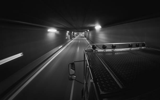 Offroad Truck Going Fast Through Tunnel stock photo