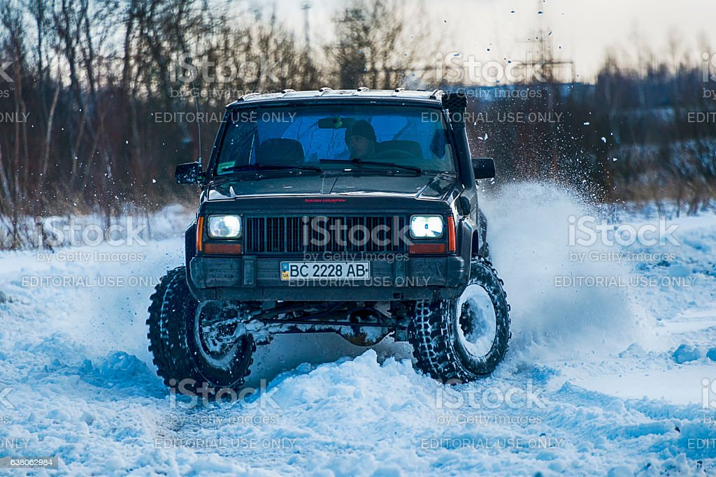 Offroad Vehicle Brand Jeep Cherokee Overcomes The Track Stock Photo Download Image Now Istock