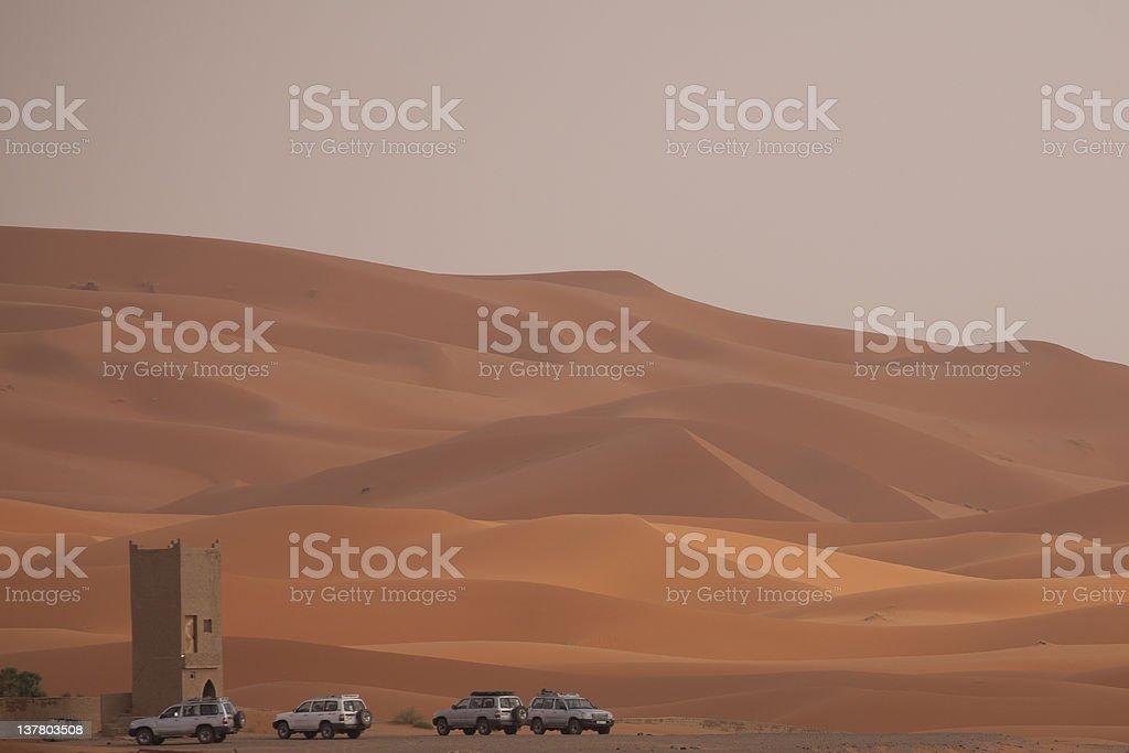 Offroader in the Sahara Desert stock photo