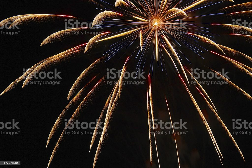 Offset Feathery Yellow Fireworks royalty-free stock photo