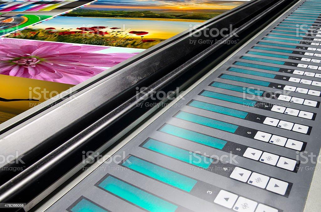 offset machine press print run at table stock photo