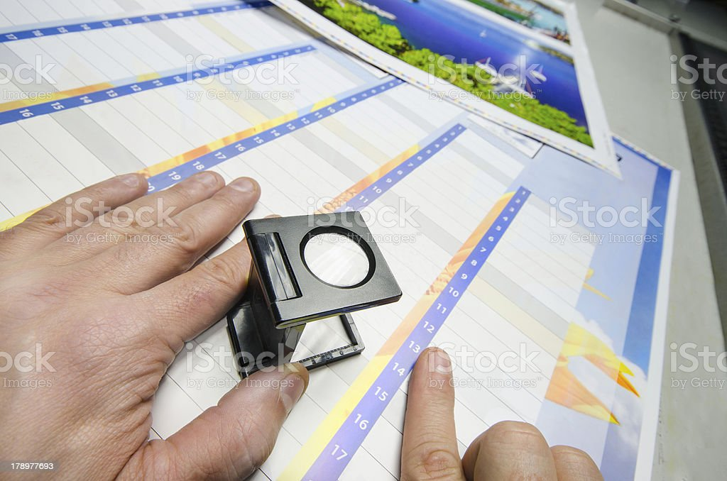 Offset Press color management loupe manual controll stock photo