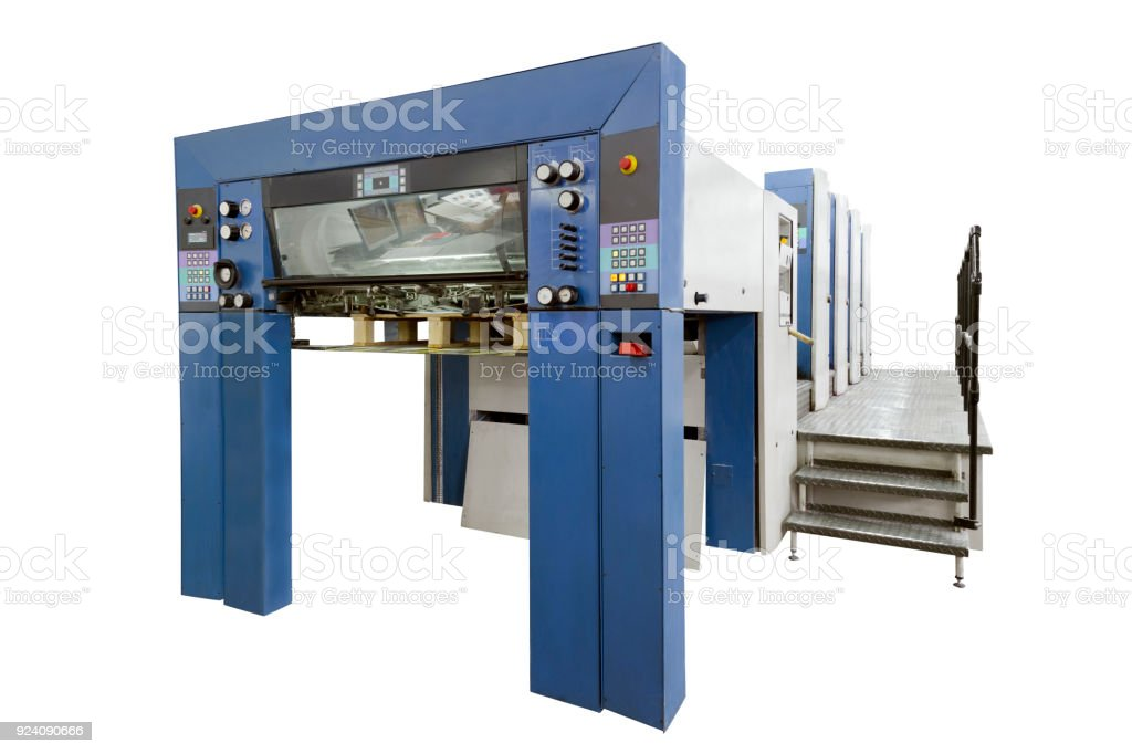 Offset Press Machine In A Modern Printing House Isolated On White With Clipping Path Included