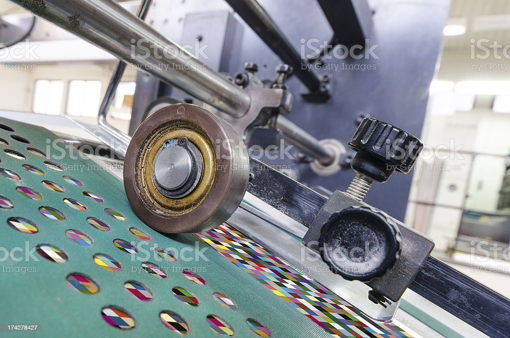offset print machine roller with color management test chart royalty-free stock photo