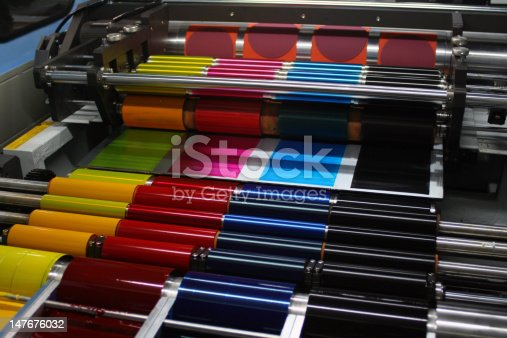 istock Offset Printing Press CMYK Ink Rollers 147676032