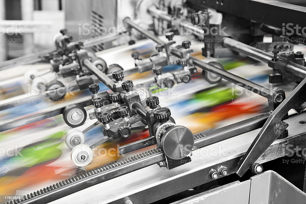 offset printing press stock photo