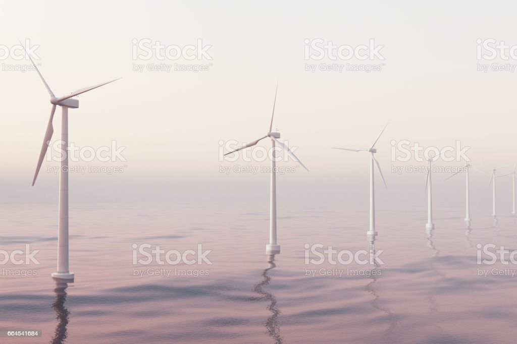 Offshore aerial view of wind turbines in the sea. Clean energy, ecological concept. 3d rendering royalty-free stock photo