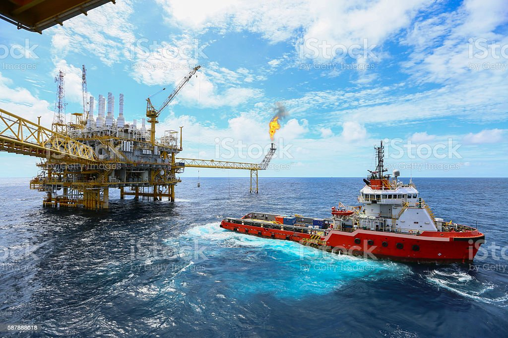 Offshore construction platform for production oil and gas stock photo