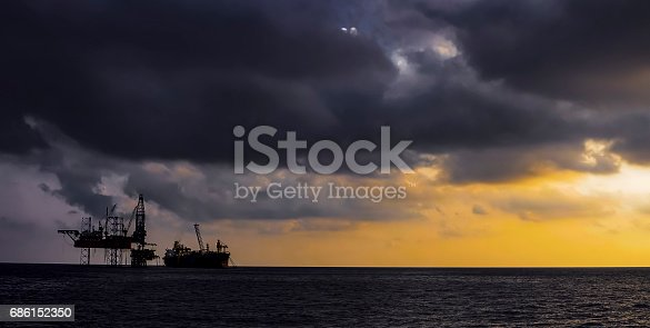 Offshore drilling rig viewed in sunset.