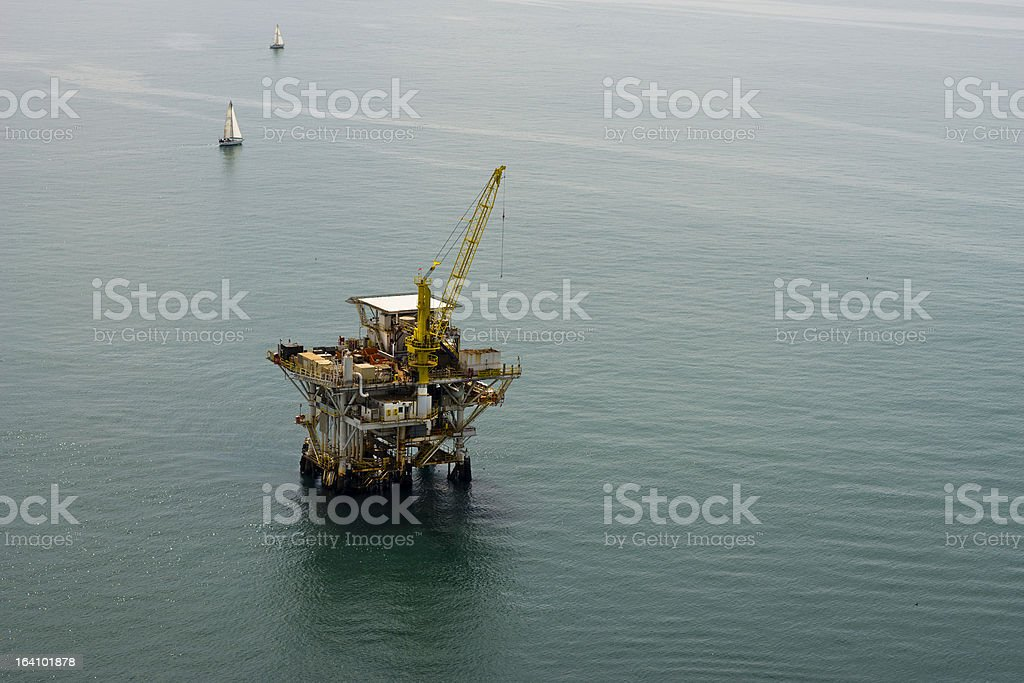 Offshore drilling rig platform aerial view royalty-free stock photo