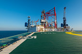 offshore drilling rig with helicopter deck