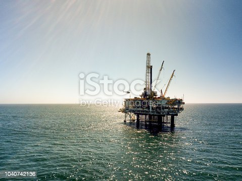 Offshore drilling rig fracking operation near the coast or Southern California near Huntington Beach