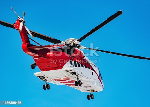 An offshore oil support helicopter prepares for landing.