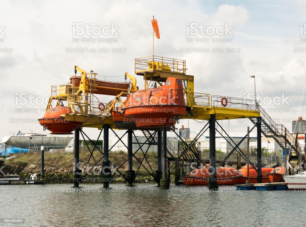 Offshore industries' lifeboat training facility, Oulton Broad, Suffolk stock photo
