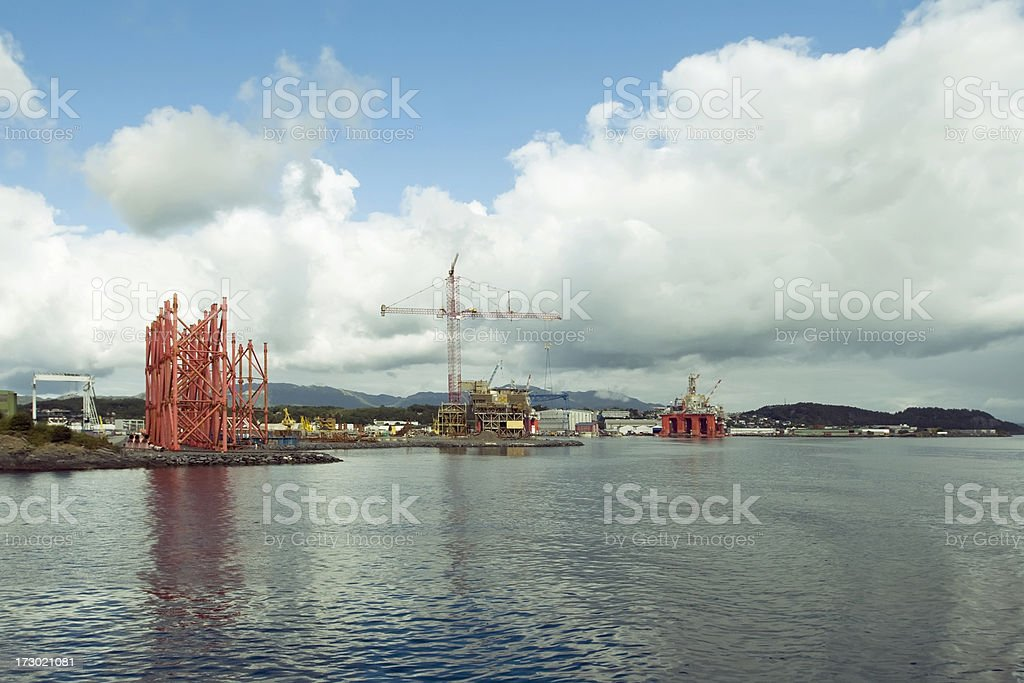 Offshore industry on the west coast of Norway in summer. royalty-free stock photo