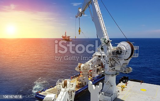 Ship to ship to transfer made at sea in a busy oilfield