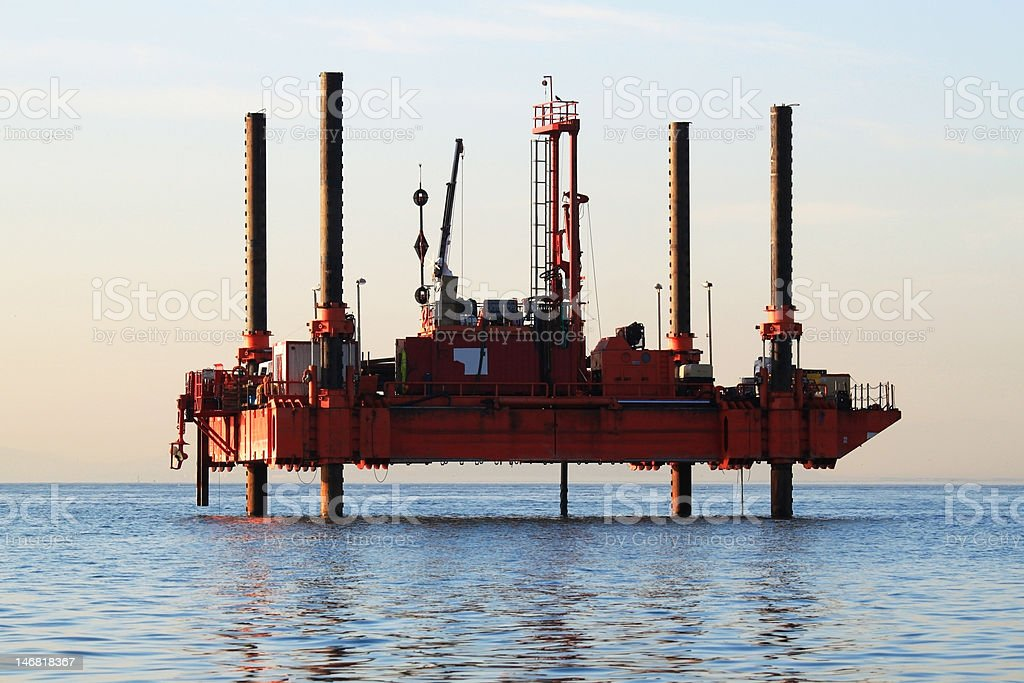 Offshore marine research and drilling platform royalty-free stock photo