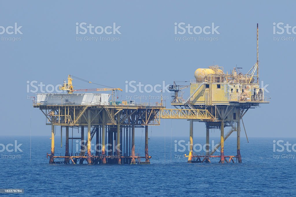 Offshore natural gas production platforms royalty-free stock photo