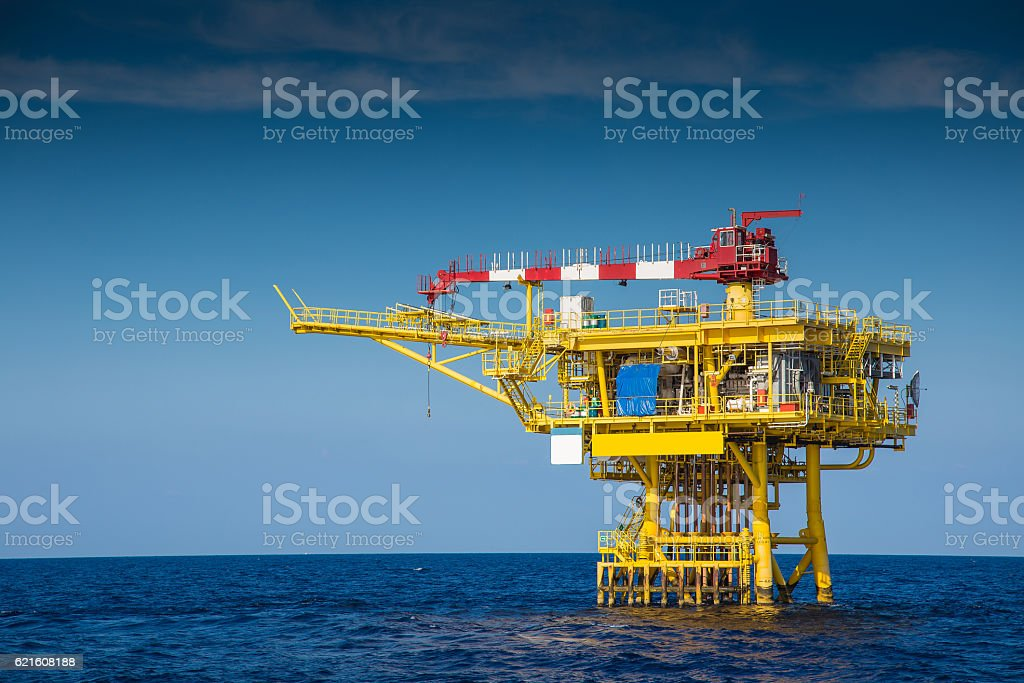 Offshore oil and gas wellhead remote platform. stock photo