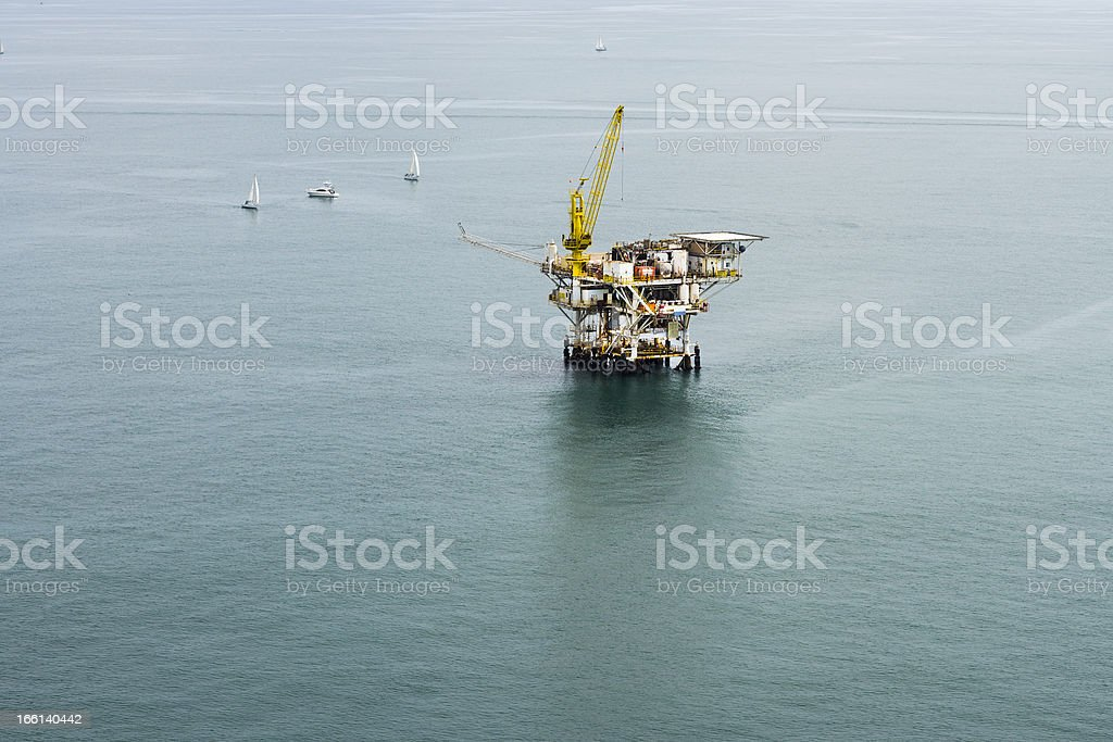 Offshore Oil Drilling Platform Aerial View royalty-free stock photo