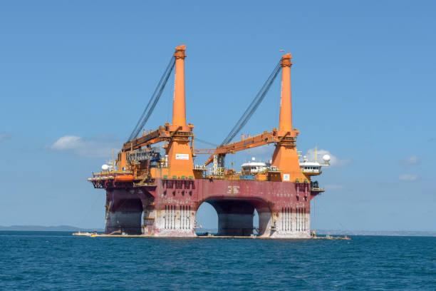 Offshore oil drilling platform near Salvador de Bahia on Brazil stock photo