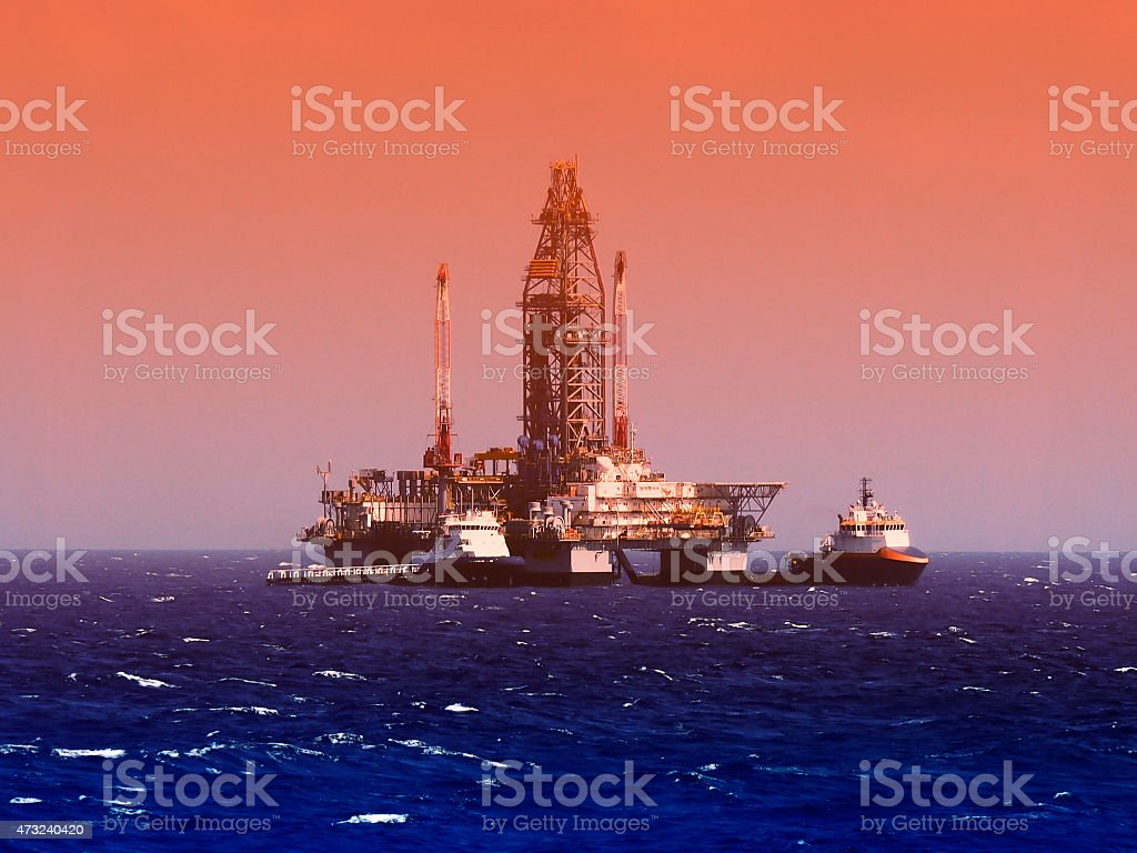 Offshore oil drilling platform or rig, gulf of mexico stock photo
