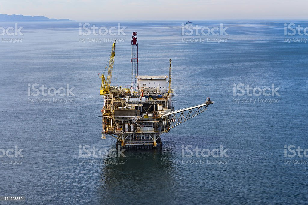 Offshore Oil Drilling Rig Aerial view royalty-free stock photo