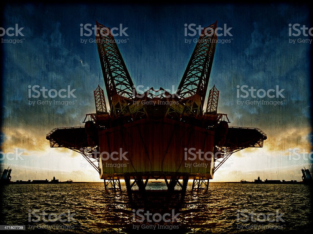 Offshore oil platform illustration royalty-free stock photo