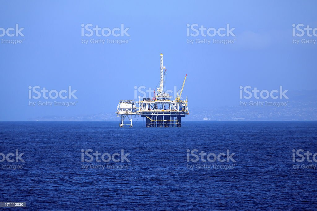 Offshore Oil Platform Rig on the Pacific Ocean royalty-free stock photo
