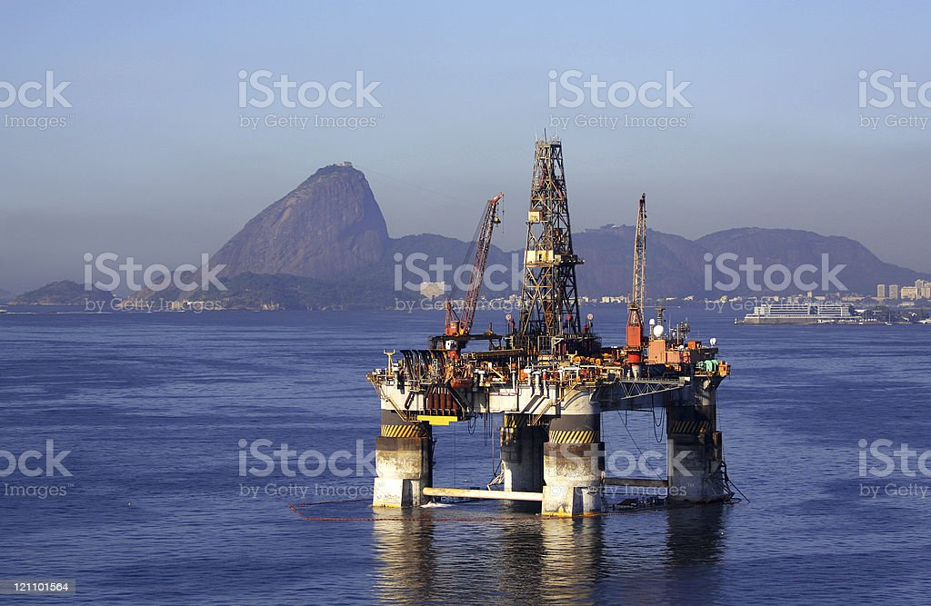 Offshore oil platform stationary in Rio de Janeiro royalty-free stock photo