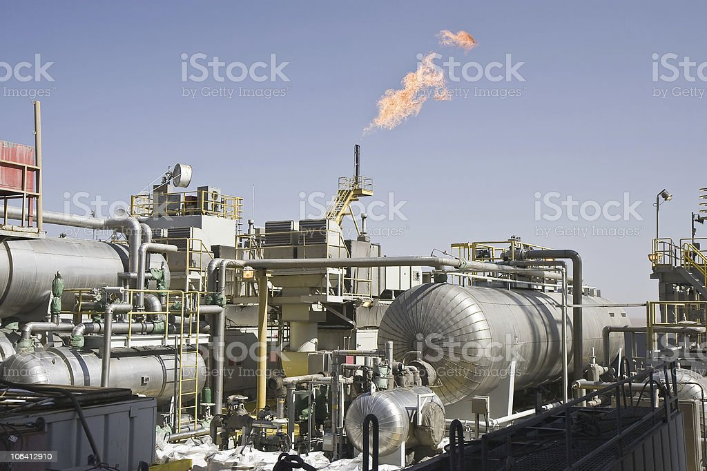 Offshore oil production installation stock photo