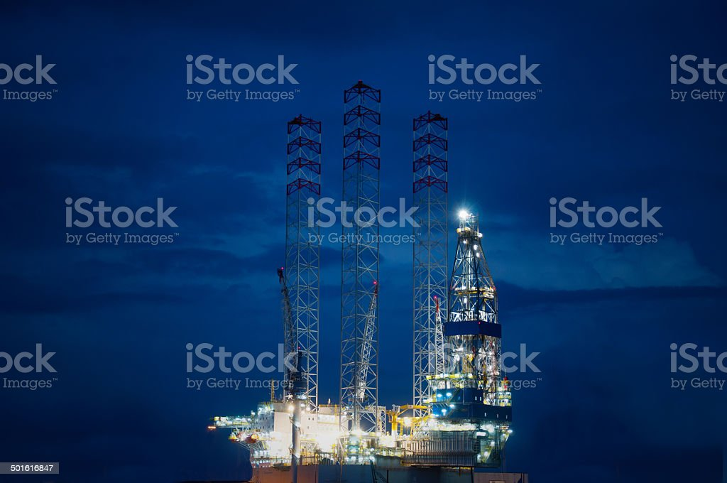 Offshore Oil rig before twilight stock photo