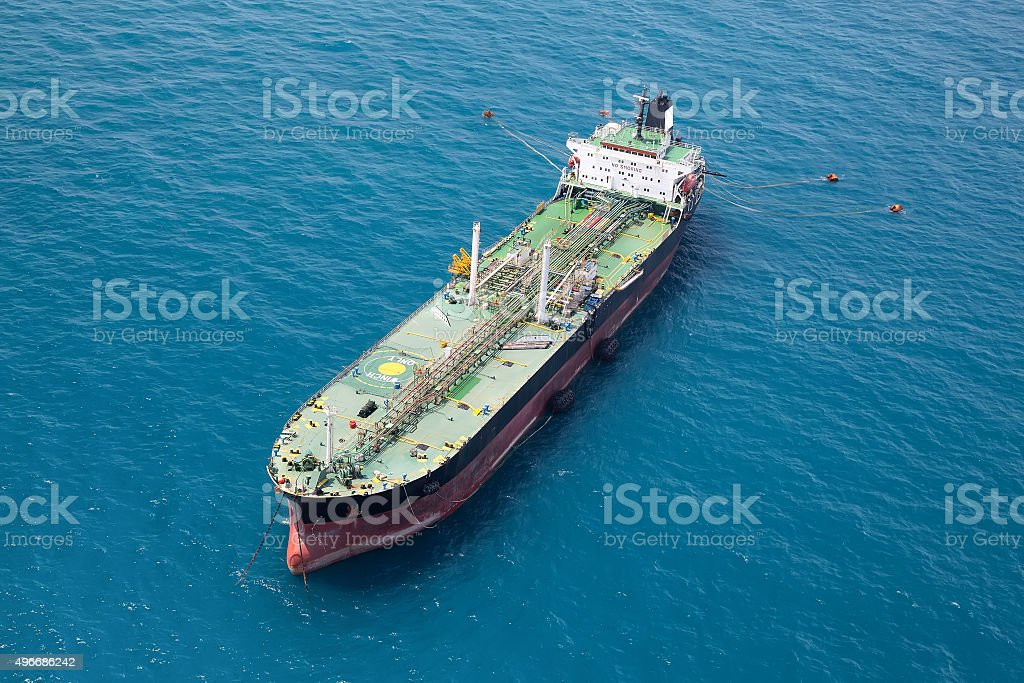 Offshore oil rig boat stock photo