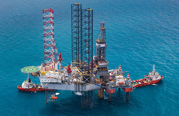 offshore oil rig drilling gas platform - pillar drill stock photos and pictures