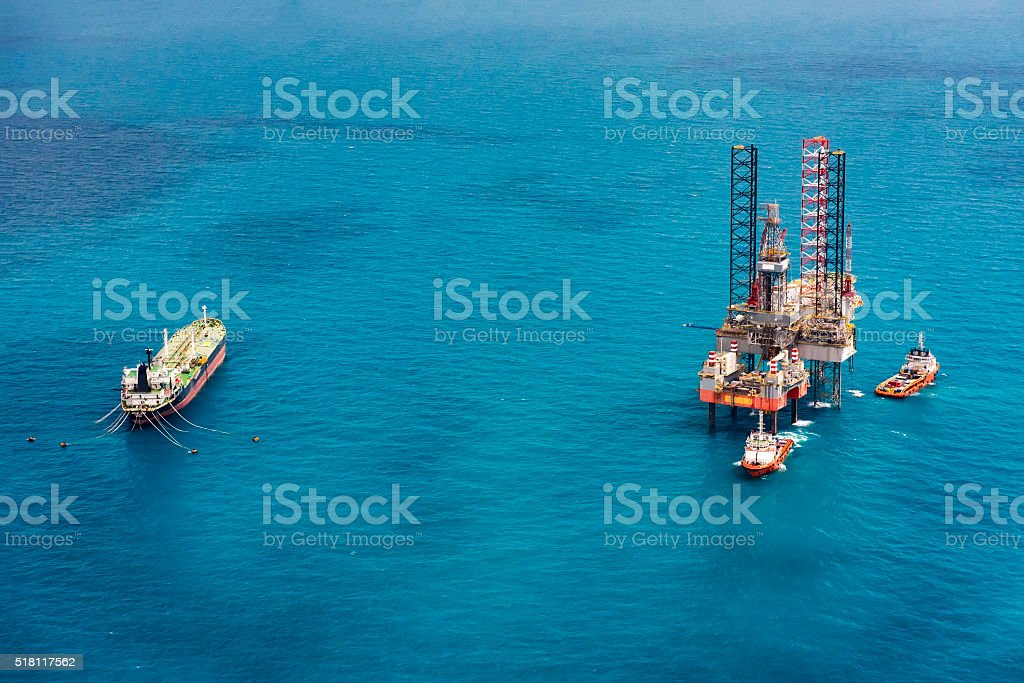 Offshore oil rig drilling platform in the gulf of Thailand. stock photo