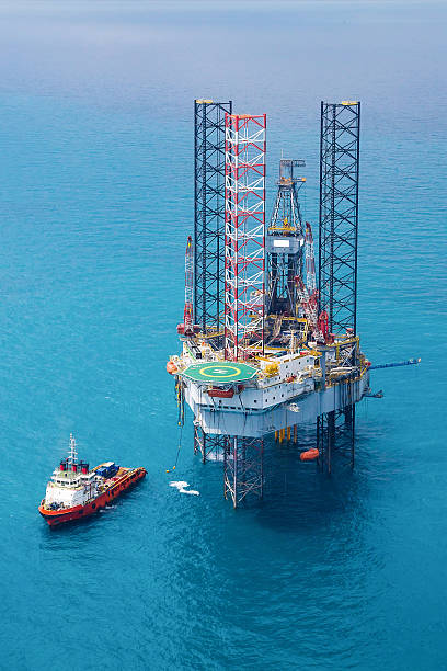 offshore oil rig drilling platform - pillar drill stock photos and pictures