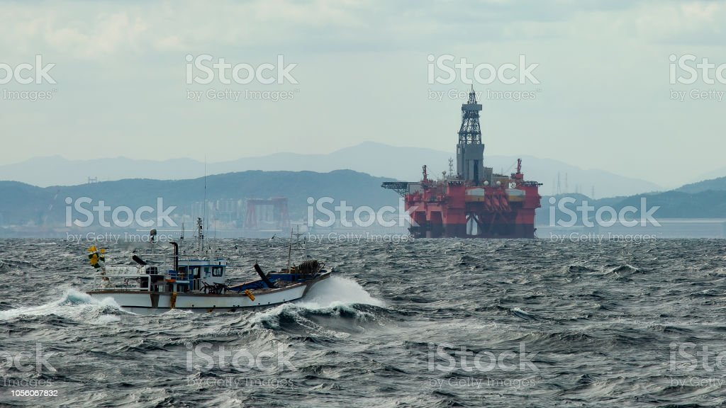 oil platform on the background of the South Korean coast near the...